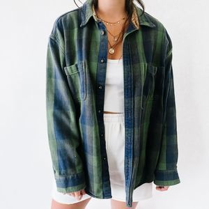 Vintage Oversized Button Up Flannel Green